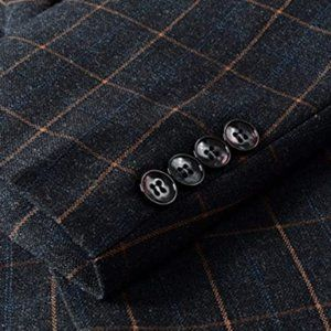 Mens Casual One Button Slim Fit Plaid Blazer Jacke